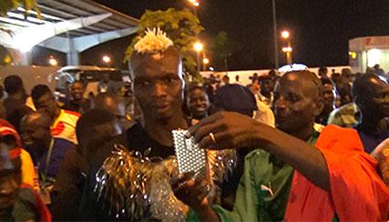 Arrivée de Aristide Bancé à l'Aéroport FHB